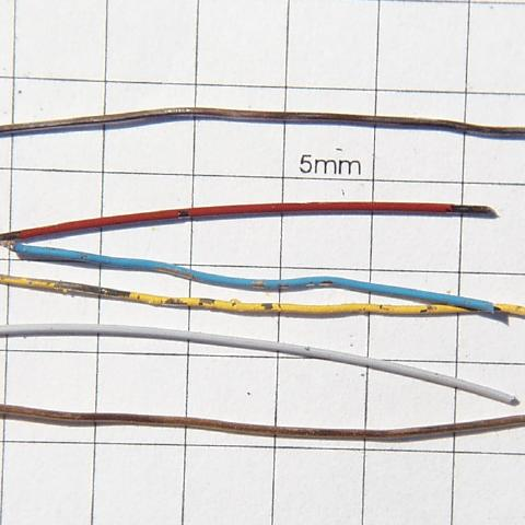 Set of six unmounted wires