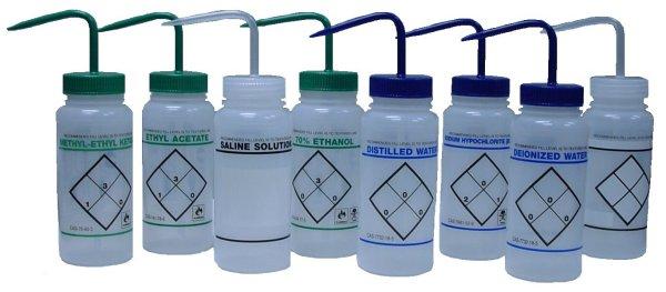 Safety Labeled Wash Bottles