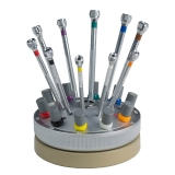 Bergeon Brand Swiss Crafted Jeweler's Screw Driver Set on Revolving Stand de Luxe Set