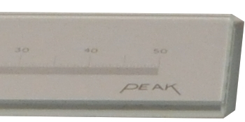 PEAK Glass Scale Calibrated Lines on Glass, 300mm with attached 10x Measuring Magnifiers