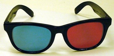 Anaglyphic Stereo Small Glasses, Red/Cyan, Regular Style, DeLuxe Plastic Frames, Each