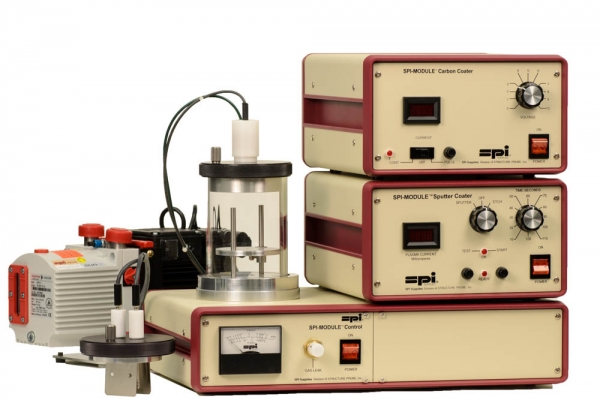 SPI-Module Sputter Coater with Carbon Module and Etch and Pump 110v 50/60 Hz CE Certified