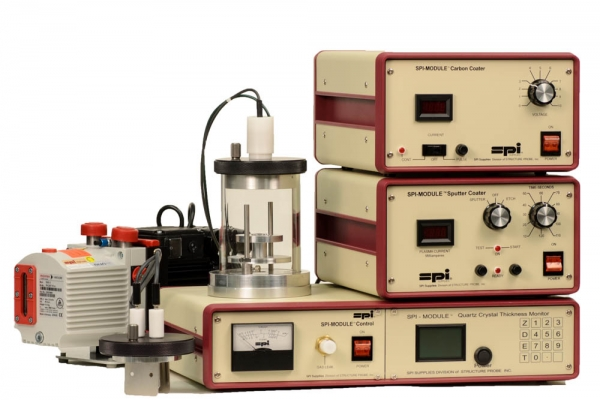 SPI-Module Sputter Coater with Carbon Module and Etch and QCTM and Pump 220v 50/60 Hz CE Certified