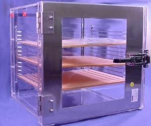 SPI Supplies Brand Amber Desiccator Storage Cabinet w/RB Valve, 3 Shelves 30.5x30.5x30.5cm,, crating