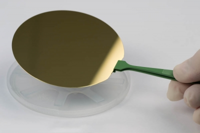 "SPI Supplies Gold Coated Silicon Wafer Substrate, 4"" (100 mm) Diameter, 100 nm Gold thickness, Pk 1"