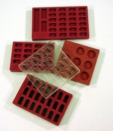 SPI Supplies Brand Silicone Embedding Molds Maroon 21 Flat Cavities Chemical and Heat Resistant