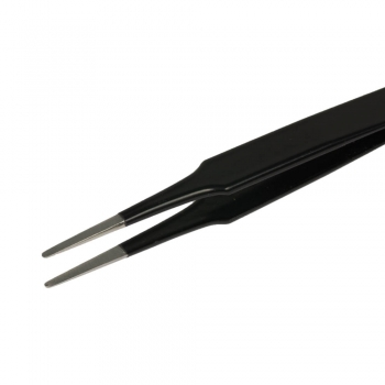 SPI Supplies Style 2A Antimagnetic Stainless Steel, EDS Safe, Black Epoxy Coated Tweezer