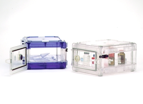 Secador 1.0 Desiccator Cabinet Clear with Blue End Caps Horizontal Manual Operation Stackable F4207-